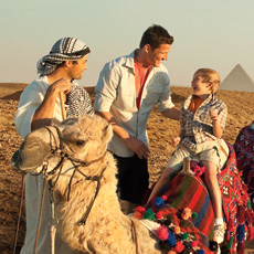A family enjoys an excursion in Egypt offered by Adventures by Disney.