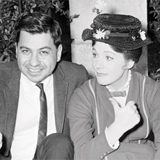"Richard Sherman and Julie Andrews have fun on the set of ""Mary Poppins""."