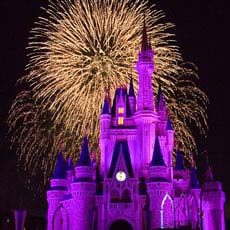 Fireworks light the sky behind Cinderella's Castle.