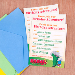 Babar and Badou Birthday Party Invitation