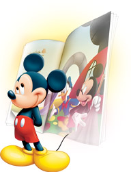 Mickey Mouse stands in front of a Mickey &amp; Friends digital book