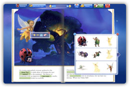 Story-Builder activity shown in a Disney Fairies digital book